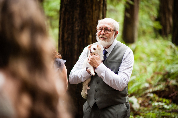 father of the bride holding chihuahua during ceremony