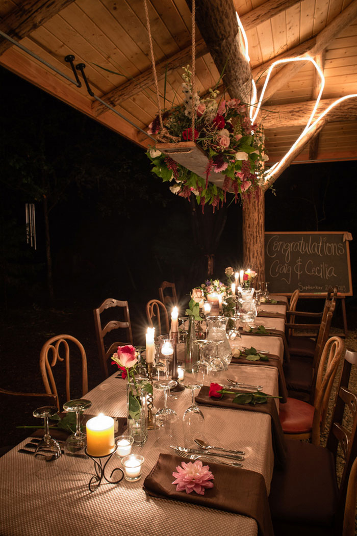 treehouse wedding reception set-up