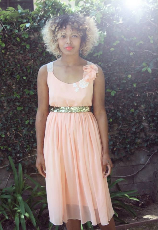 summer peach dress