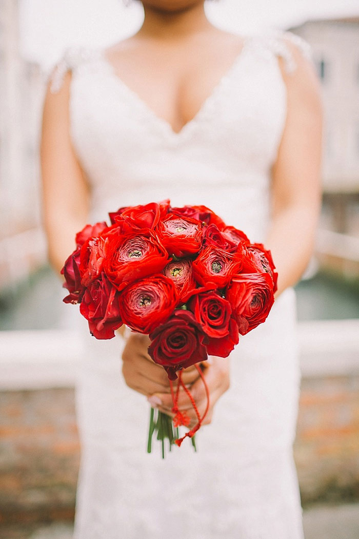 red ranunculus wedding bouquet