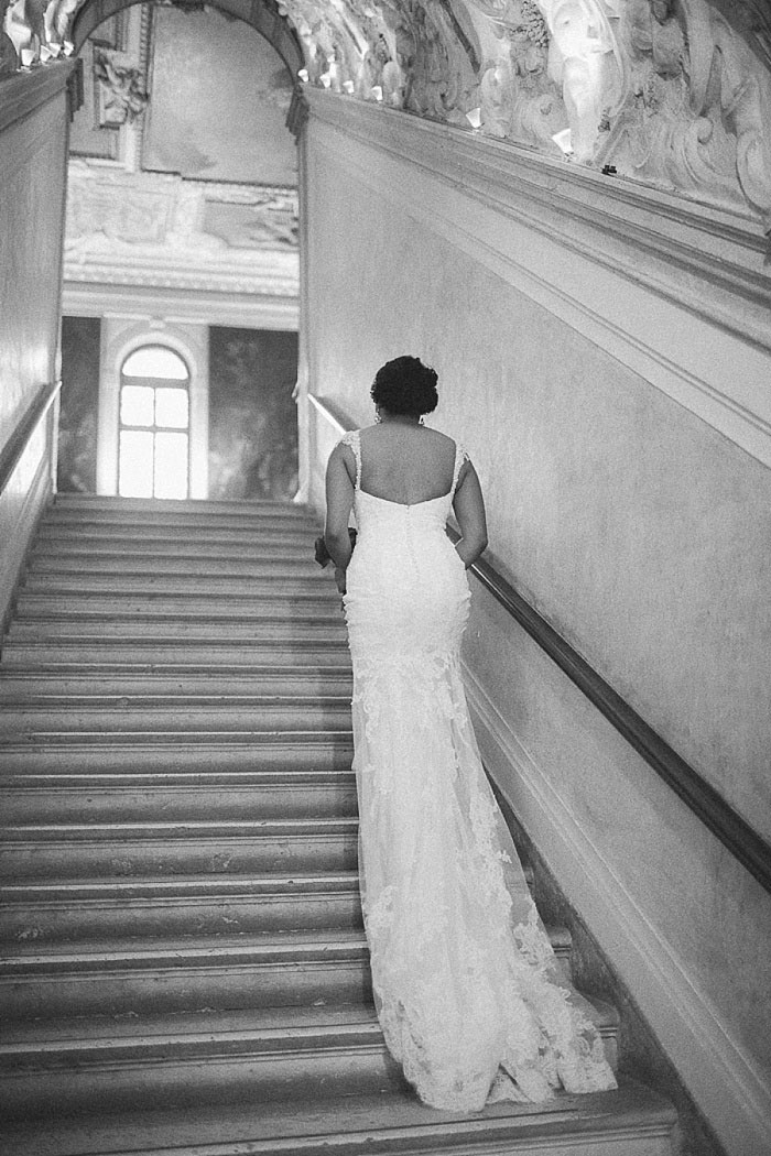 bride climbing stairs