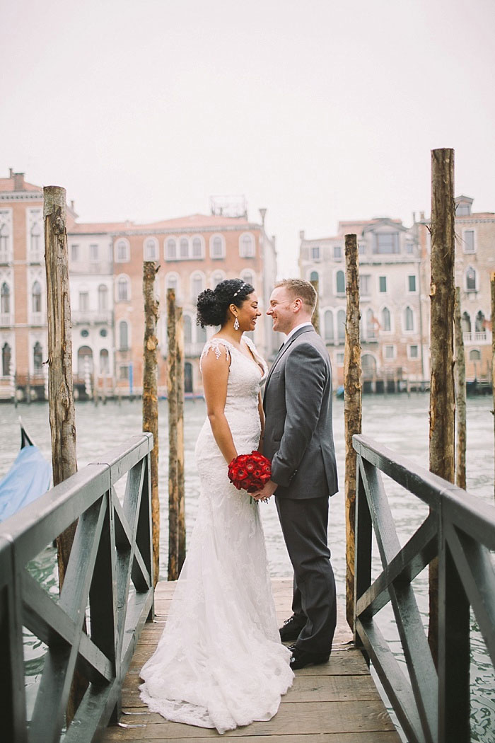 bride and groom portrait on Venice pier