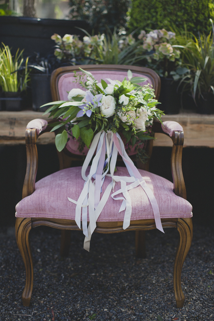 wedding bouquet on antique chair