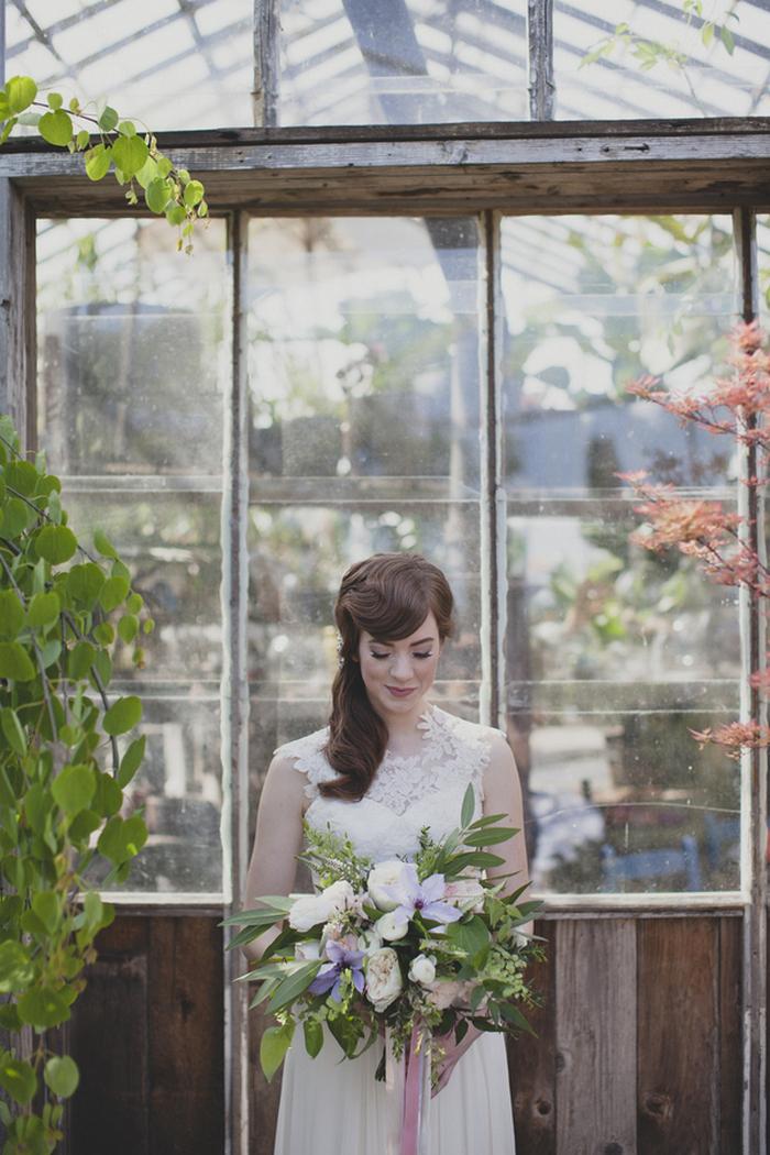 bride portrait in greenhouse