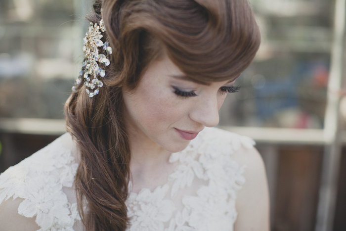 close-up bridal portrait