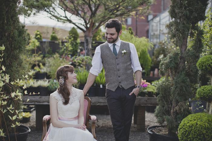 garden tea party wedding portrait