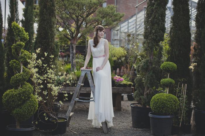 bridal portrait on ladder
