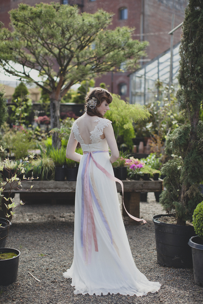 bride portrait in greenhouse