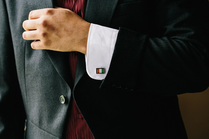 groom wearing Irish flag cufflink