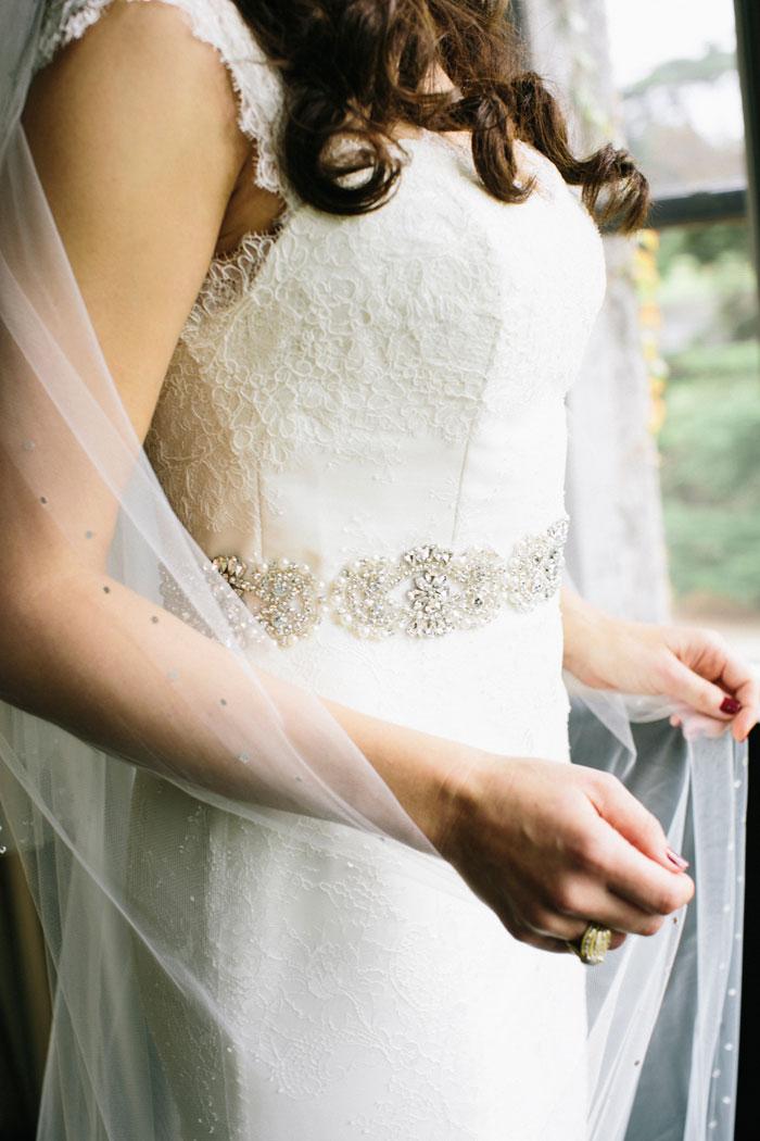 close of bride's dress and veil