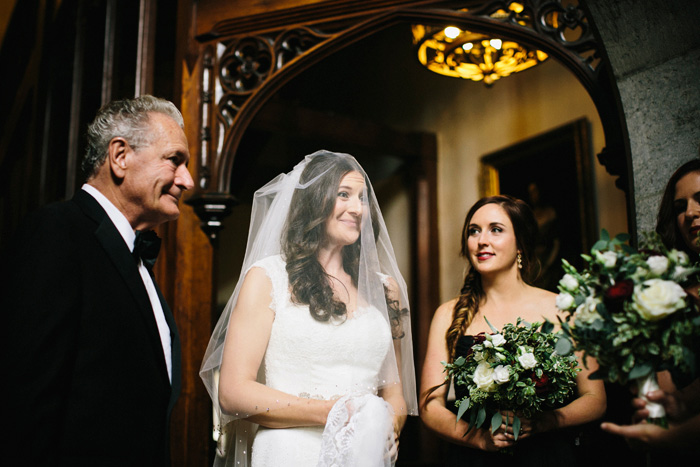 emotional bride with her father