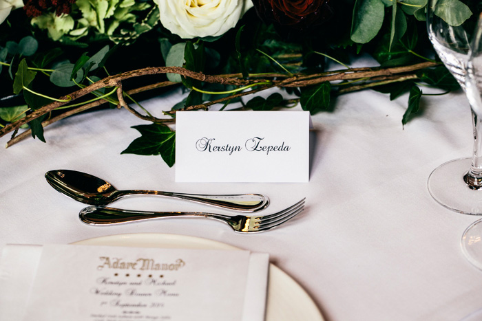 wedding reception place setting