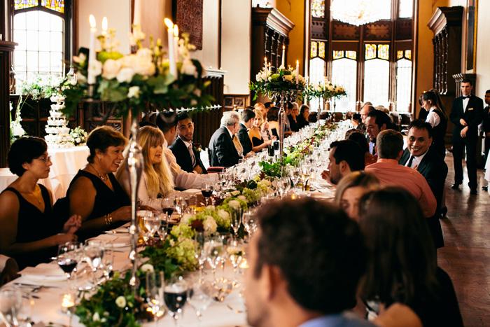 guests at long recepetion table