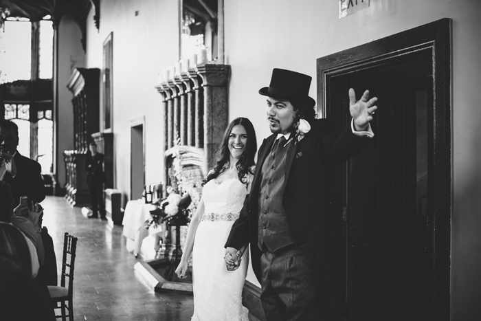 bride and groom making grand entrance at reception