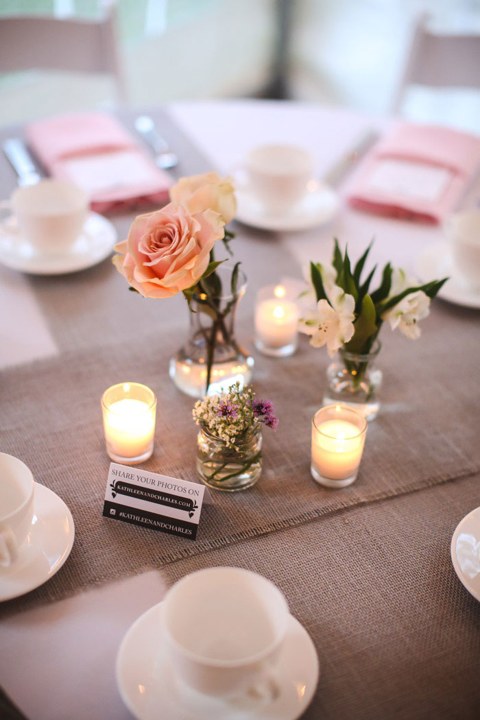 tea room wedding table setting