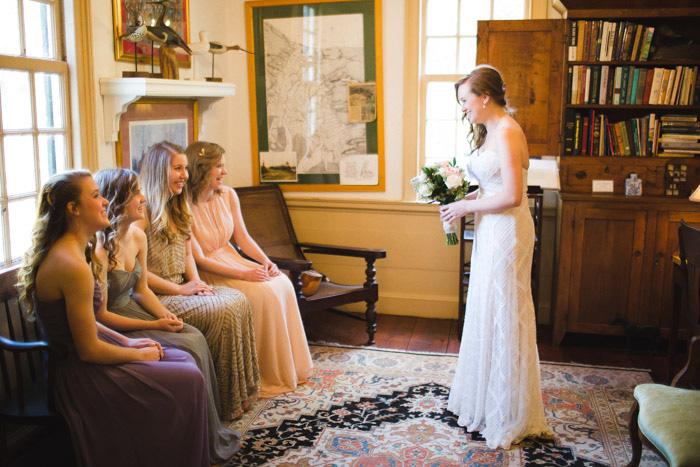 bride seeing her bridesmaids
