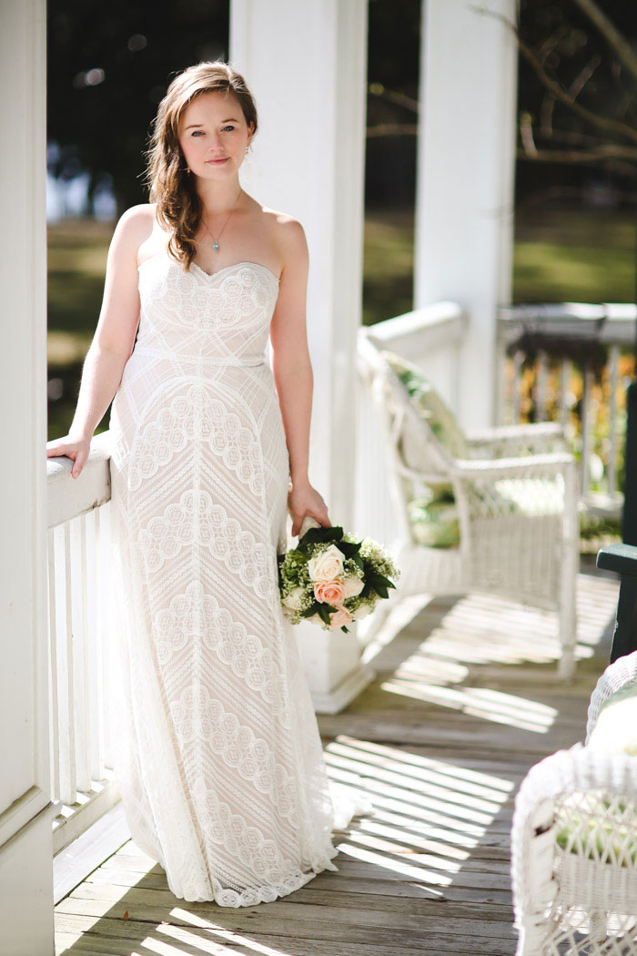 bride portrait on porch