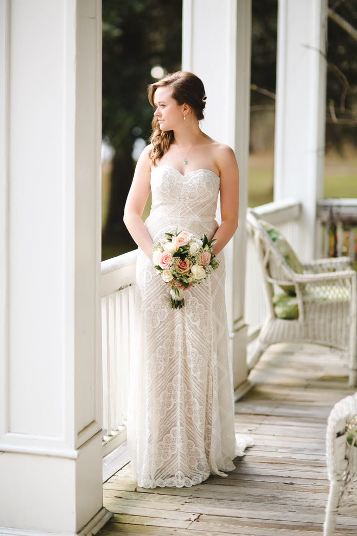 bride portrait on plantation porch