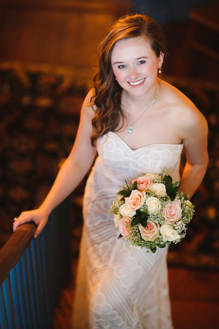 bride portrait on stairs