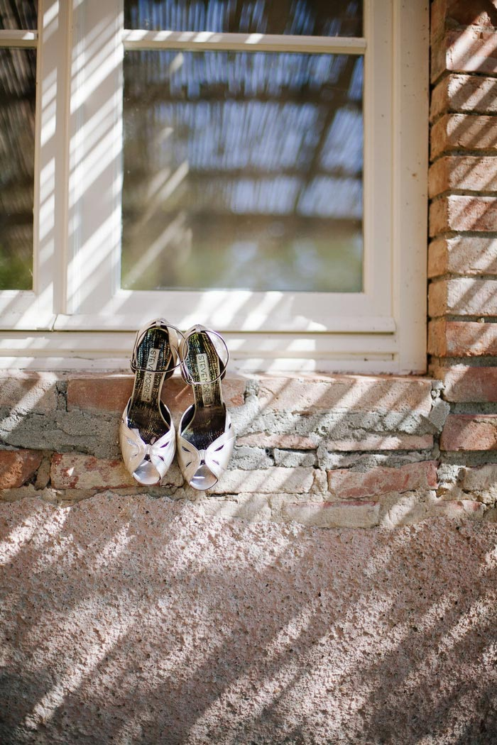 bride's shoes on windowsill