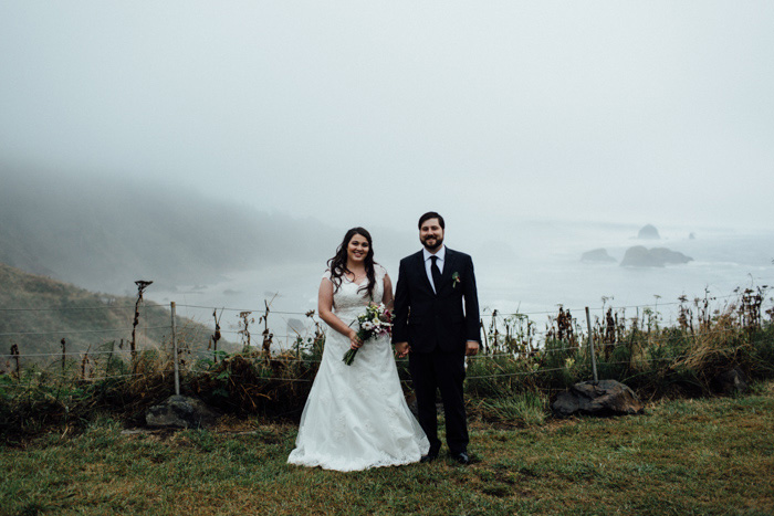 foggy wedding portrait