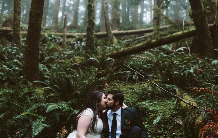 bride and groom portrait in Oregon forest