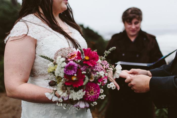 foggy outdoor elopement ceremony