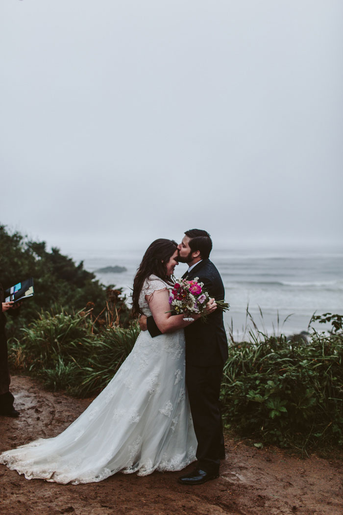 foggy outdoor elopement ceremony