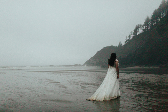bride on foggy Oregon coast