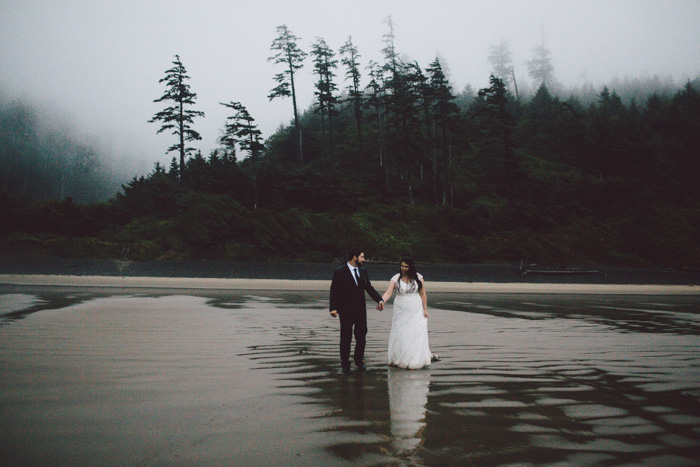 Bride On Foggy Oregon Beach
