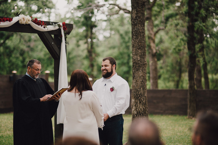 rustic outdoor Texas wedding ceremony