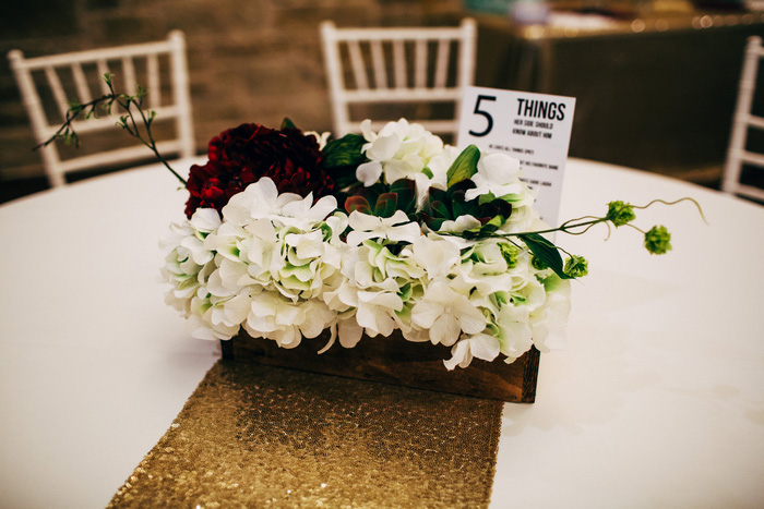 white and red wedding centerpiece