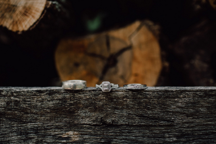 wedding rings on wood