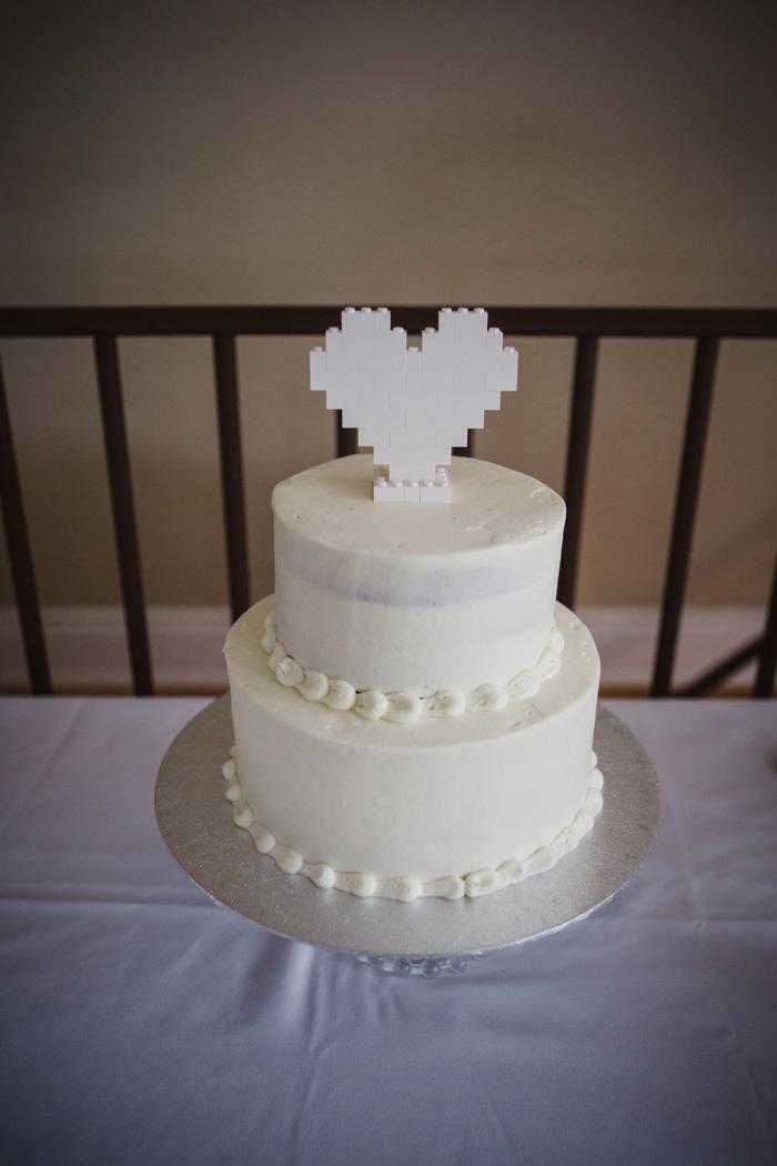 pixel heart cake topper