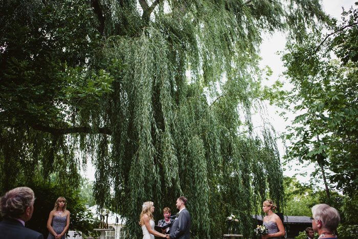 wedding ceremony under weeping willow