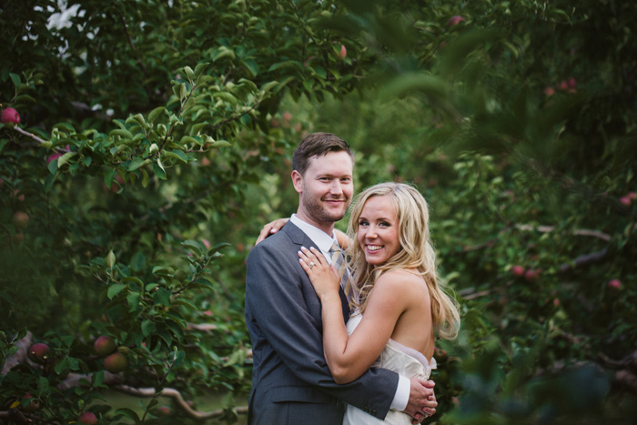 apple orchard wedding portrait