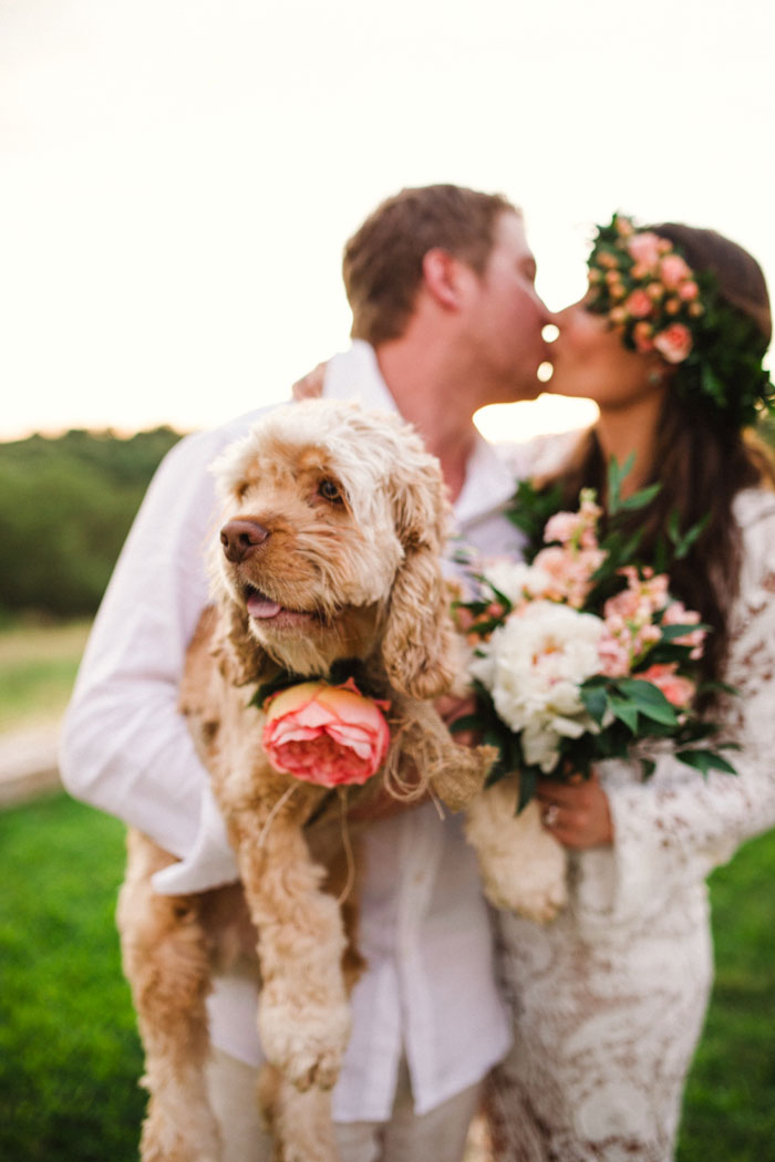 bride and groom kissing and holding dog