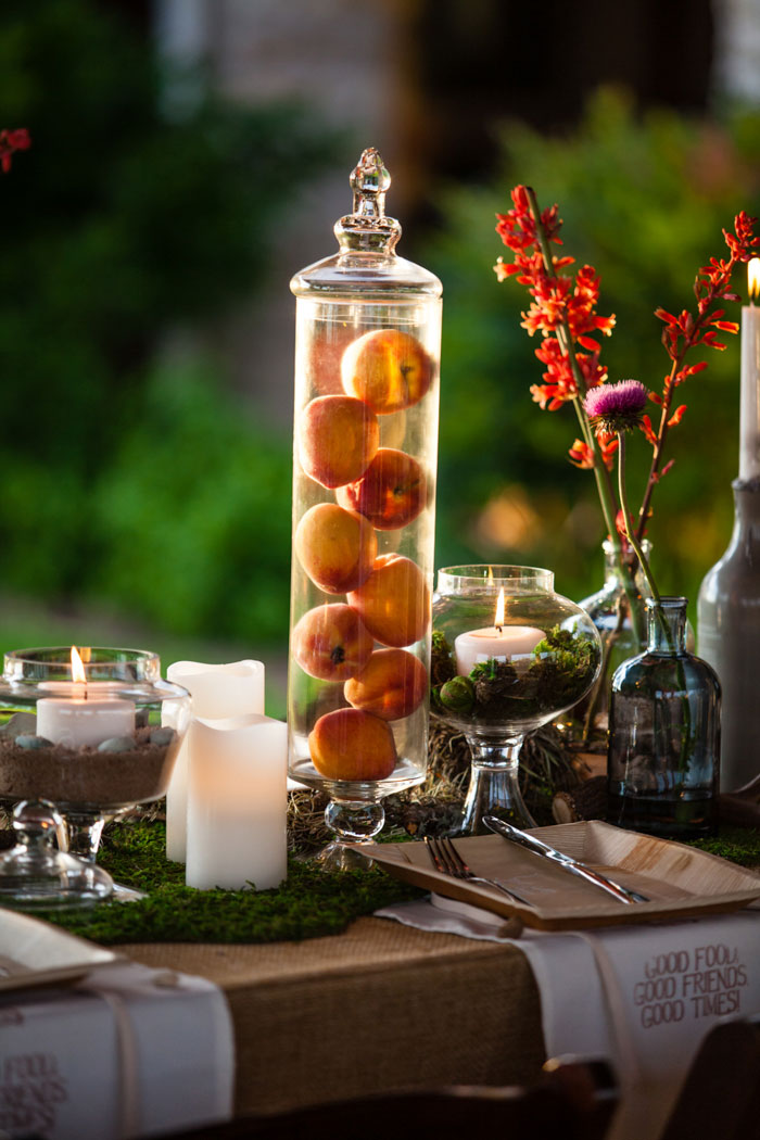 peaches in jar wedding centerpiece
