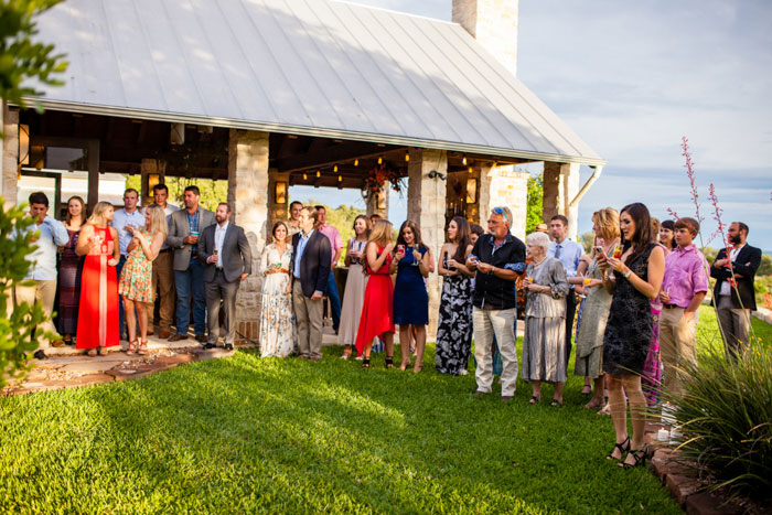 guests at outdoor wedding ceremony