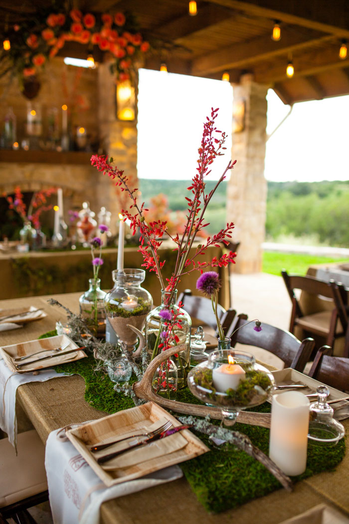 rustic texas wedding centerpiece