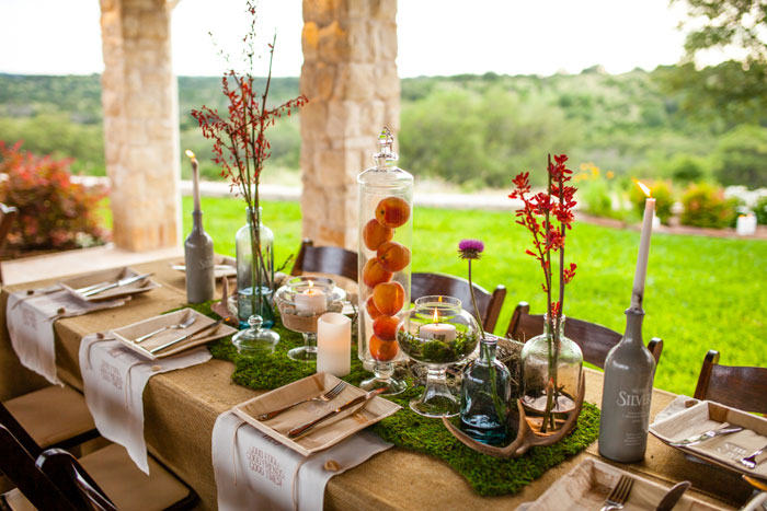 rustic texas wedding table setting