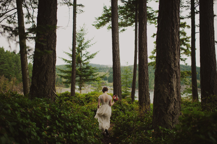 bride walking on Orcas Island