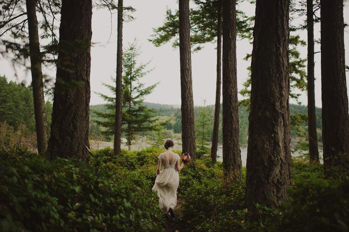 bride walking on Orcas Island