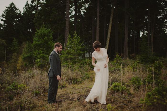 bride showing off for groom