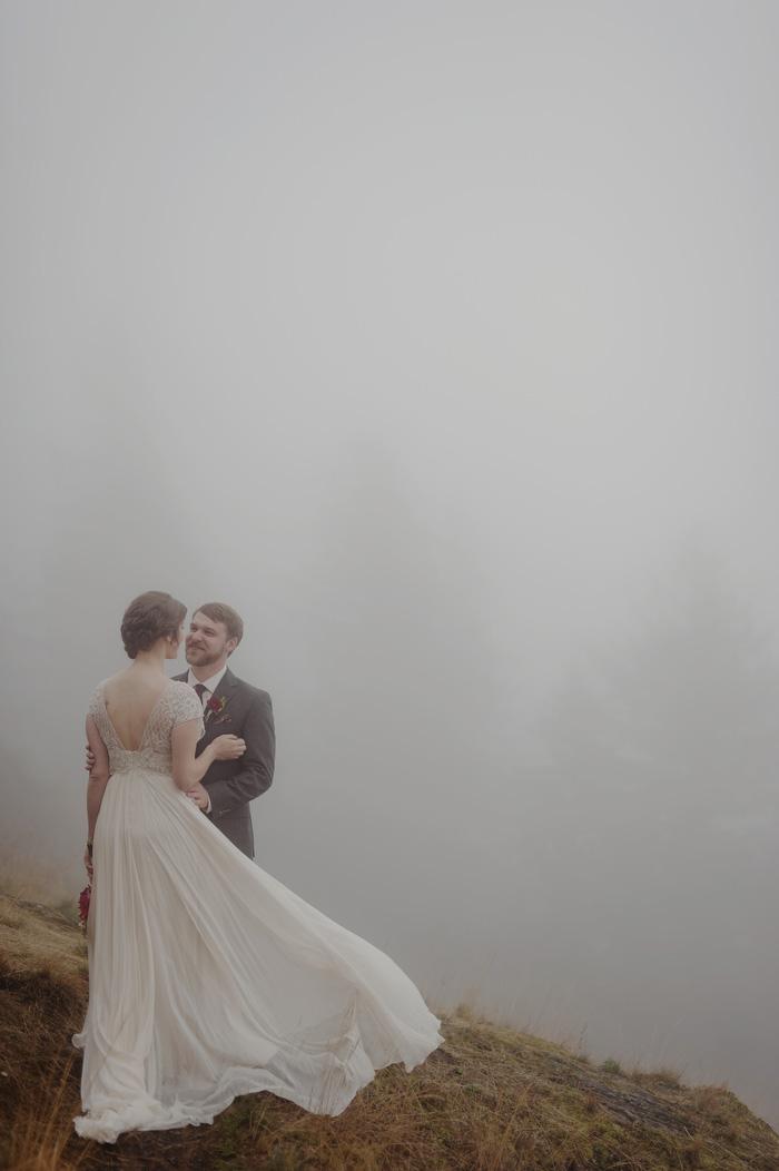 Foggy Orcas Island wedding portrait