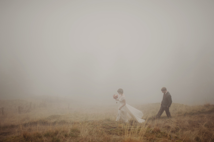 Foggy Orcas Island wedding portrait