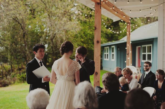 tearful groom at ceremony