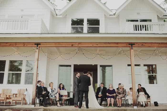 wedding ceremony on front porch