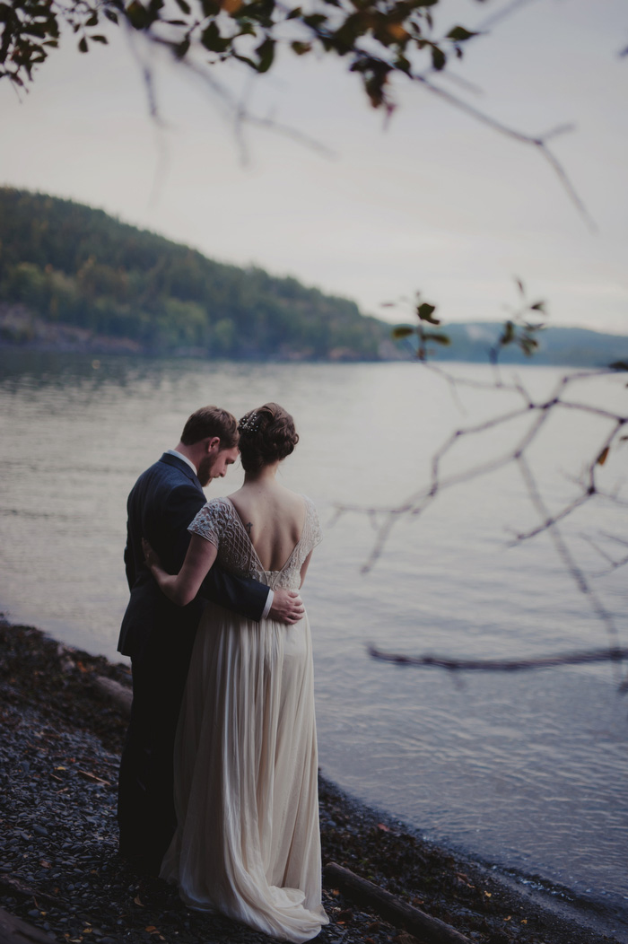 bride and groom portrait by the ocean