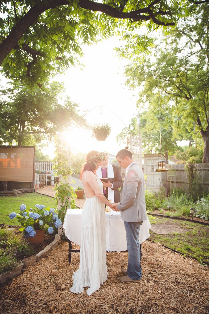 backyard Texas wedding ceremony